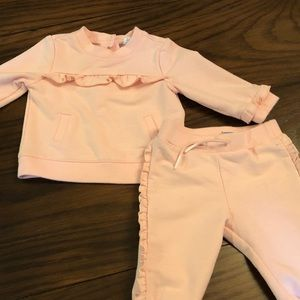Janie and jack cuddly pale pink sweatsuit